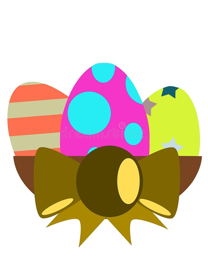 Isolated colorful Easter eggs with ribbon royalty free stock photography