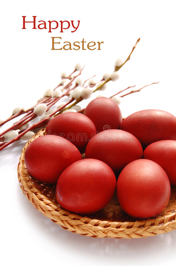 Easter Eggs. And willow twig on the white background stock image