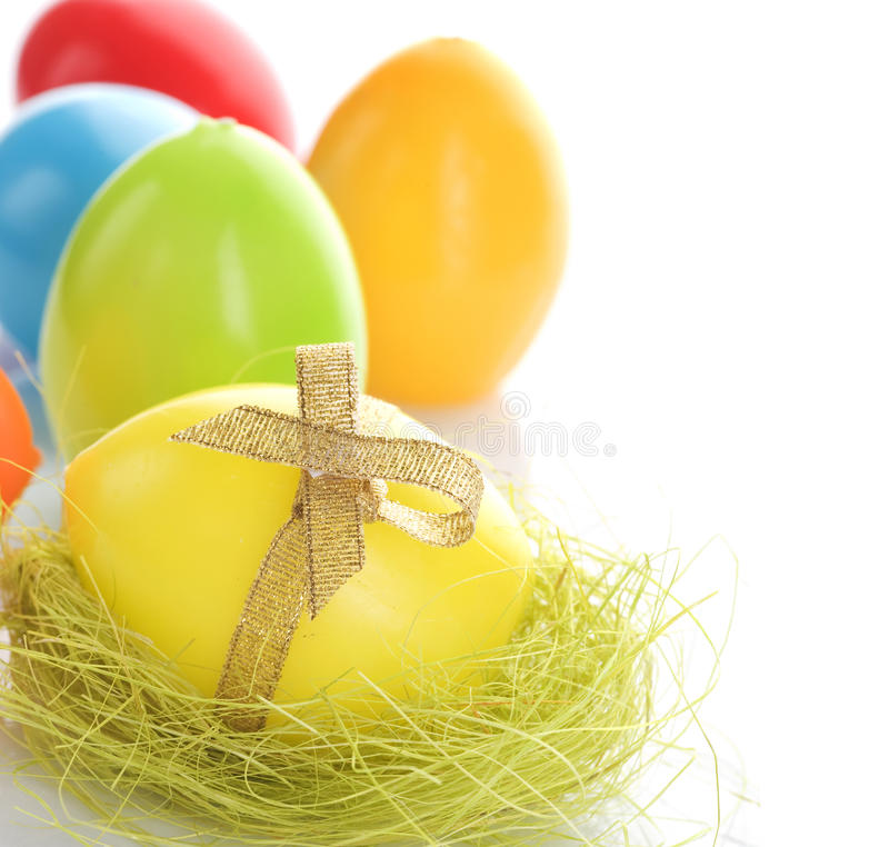 Easter Eggs. Beautiful Colorful Easter Eggs border.Isolated on white royalty free stock photography