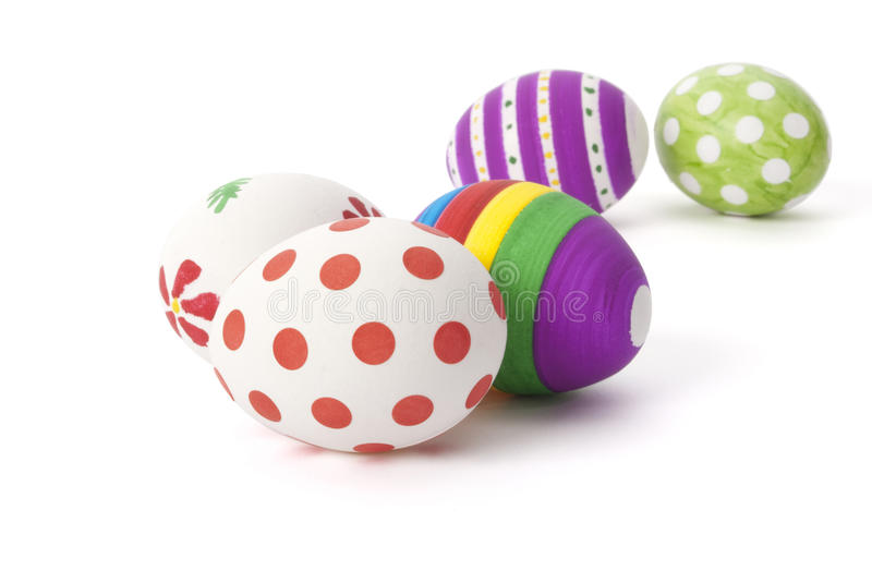 Easter eggs. Five hand painted easter eggs on white background royalty free stock photo