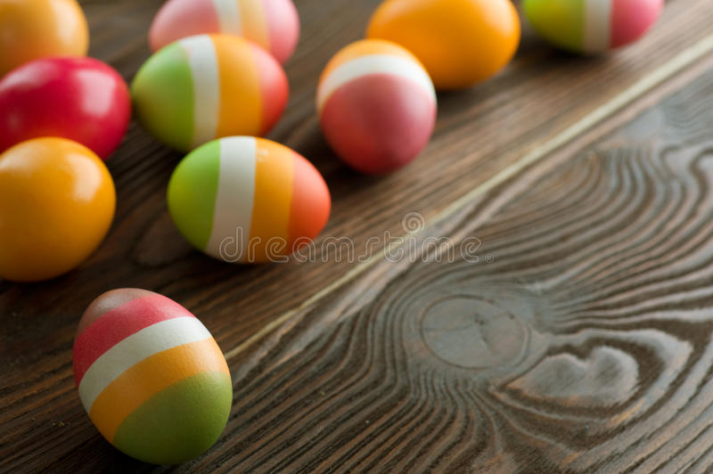 Easter Eggs. Colorful Easter Eggs border.With copy space stock image
