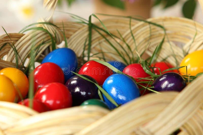 Easter eggs. A basket full of Easter eggs stock image