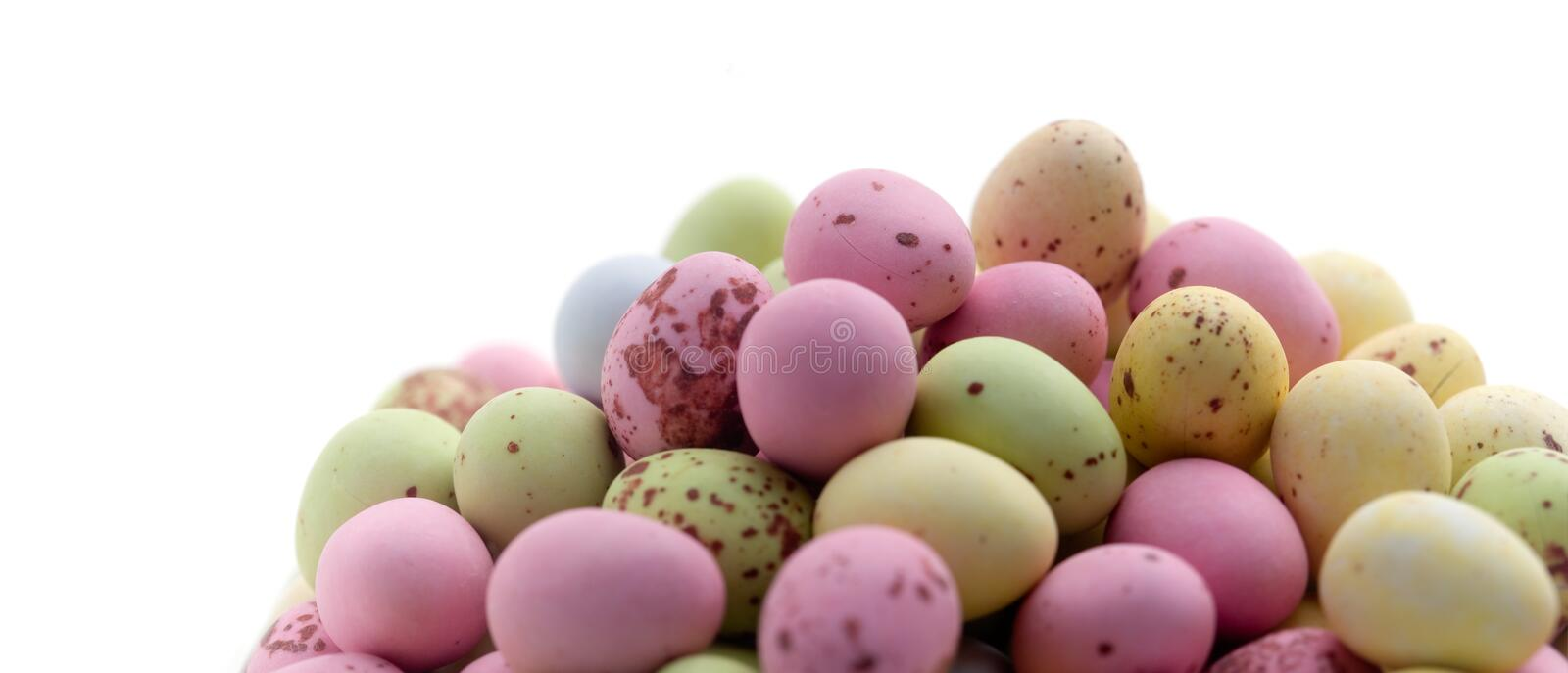 Easter eggs. Chocolate easter eggs on white isolated background royalty free stock images