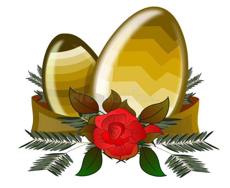 Isolated Easter eggs with roses royalty free stock photo
