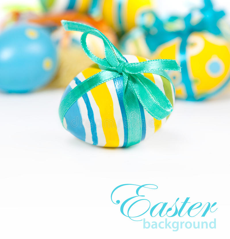 Easter Eggs. Painted Colorful Easter Eggs isolated on white stock images