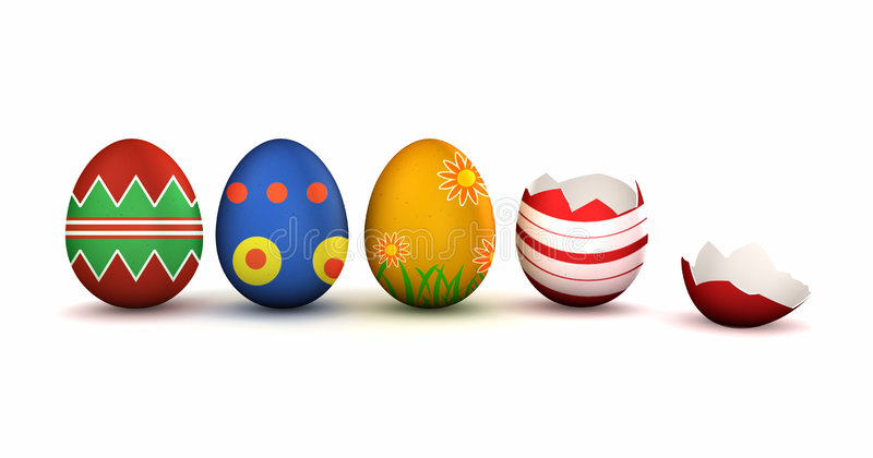 Easter Eggs. Colorful easter eggs with one broken isolated on white with shadow