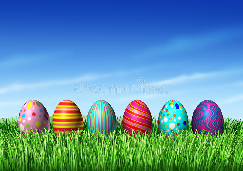 Easter Eggs. Easter Egg hunt with easter eggs in a row sitting on green grass and blue sky as a symbol of spring and the a holiday decoration and design element vector illustration