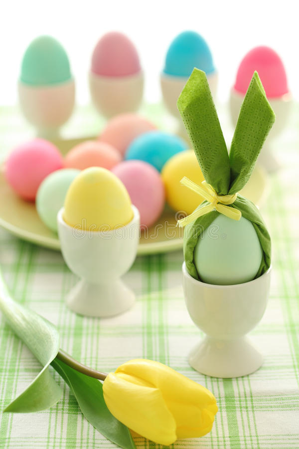 Easter eggs. Closeup of easter eggs on table royalty free stock photo