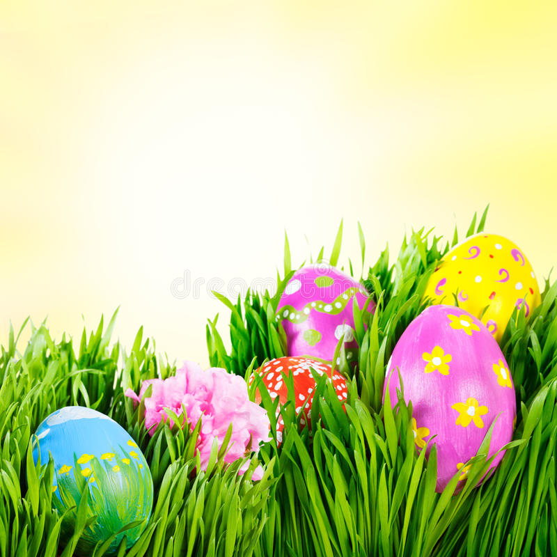 Easter eggs. Hand painted Easter eggs nestled in the grass royalty free stock images