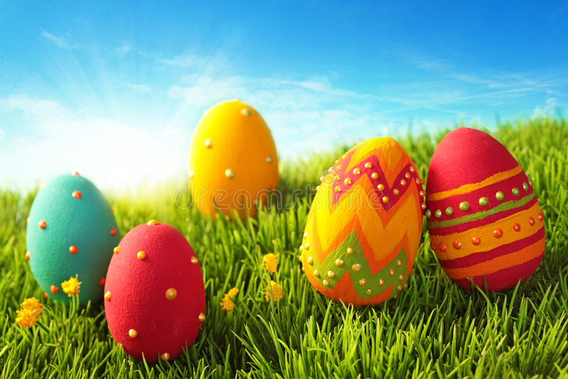 Easter eggs. On green grass royalty free stock images