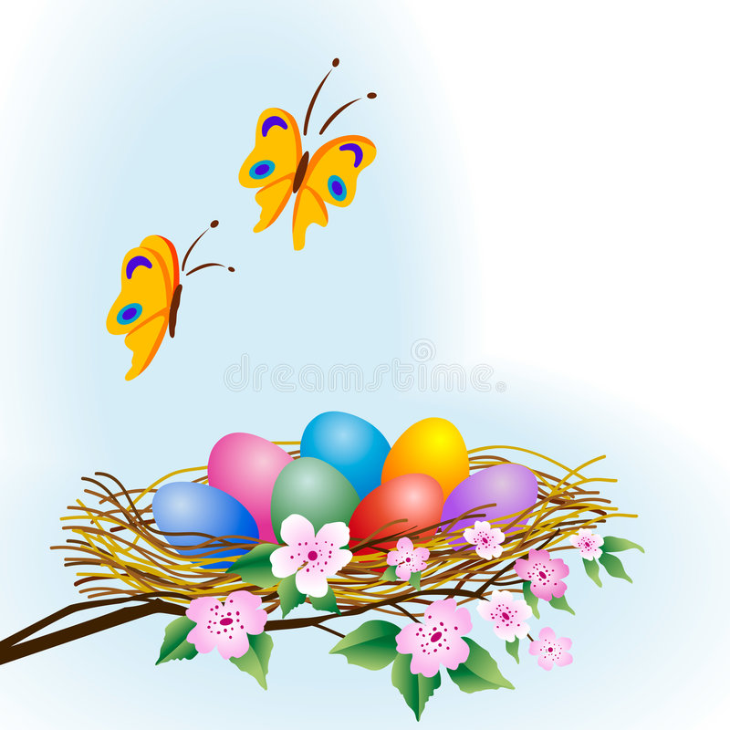 Easter eggs. In the nest on branches of cherry tree with butterflies flying above