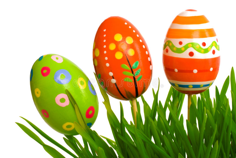 Easter eggs. In green grass royalty free stock image