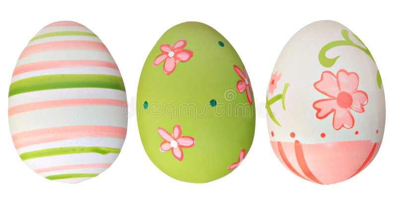 Easter eggs. Hand painted easter eggs isolated on white stock photos