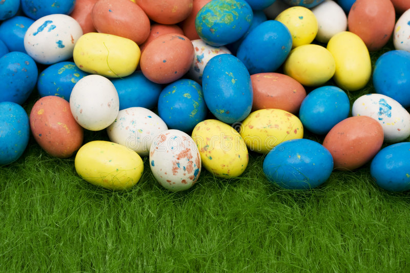 Easter Eggs. On grass for Easter background stock photo