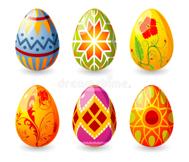 Easter eggs. Six easter eggs with ornament, element for design, vector illustration (no transparency