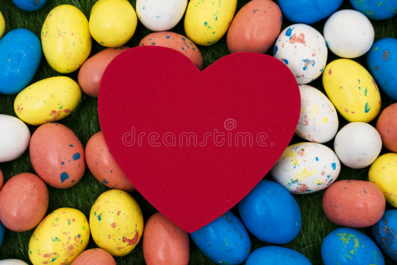 Easter Eggs. With blank heart for your message stock photography
