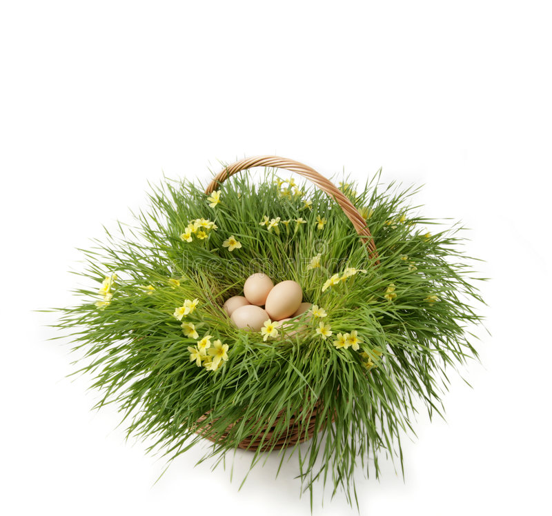 Easter eggs. In a basket with grass and flowers royalty free stock images