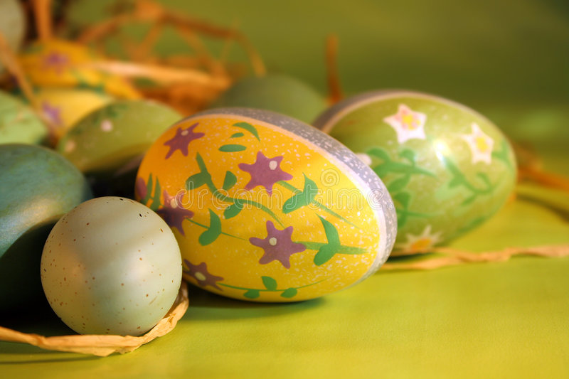 Easter eggs. Eggs grouped together for easter setting royalty free stock photo