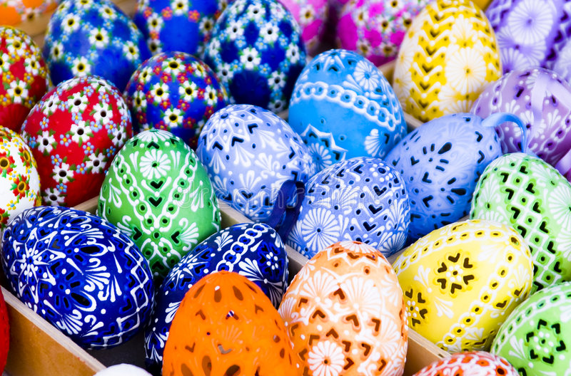 Easter Eggs. Colorful easter Eggs for sale stock image