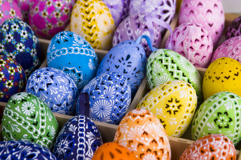 Easter Eggs. Colorful easter Eggs for sale stock images