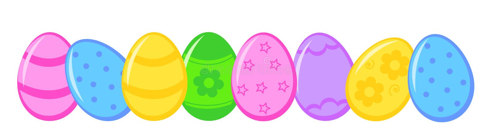Easter eggs. Cute colorful easter eggs lined up in a row isolated on white background