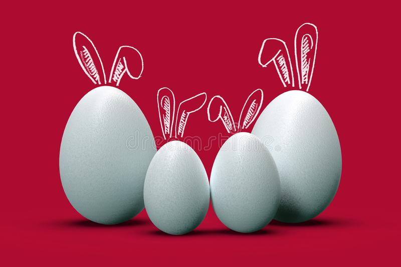 Easter Eggs as family of four, with cute bunny ears royalty free illustration