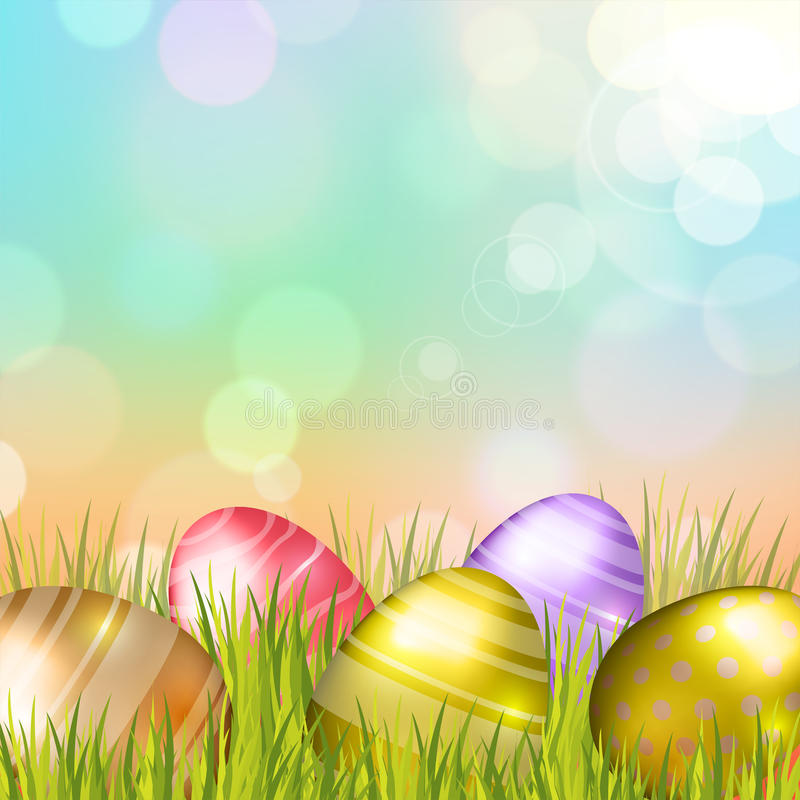 Easter Eggs Background. Easter bokeh background with eggs on meadow of blue colors. Vector eps10