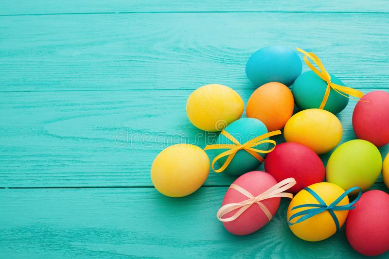 Easter Eggs background. Colorful egg. Top view and mock up. Holiday fun. Food design. Selective focus stock photography