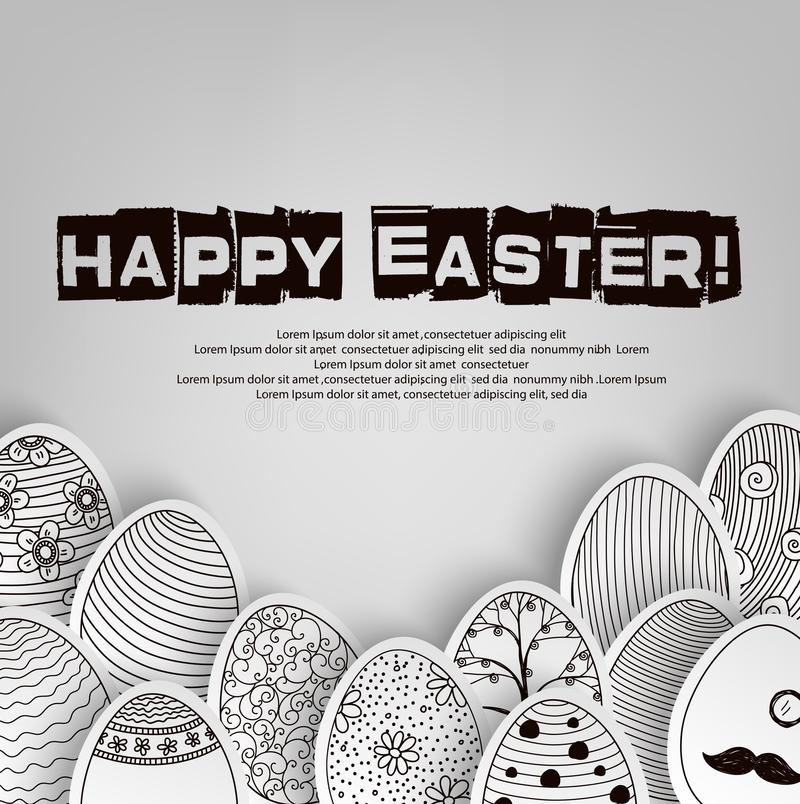 Easter eggs background with pattern coloring book on black and white vector illustration