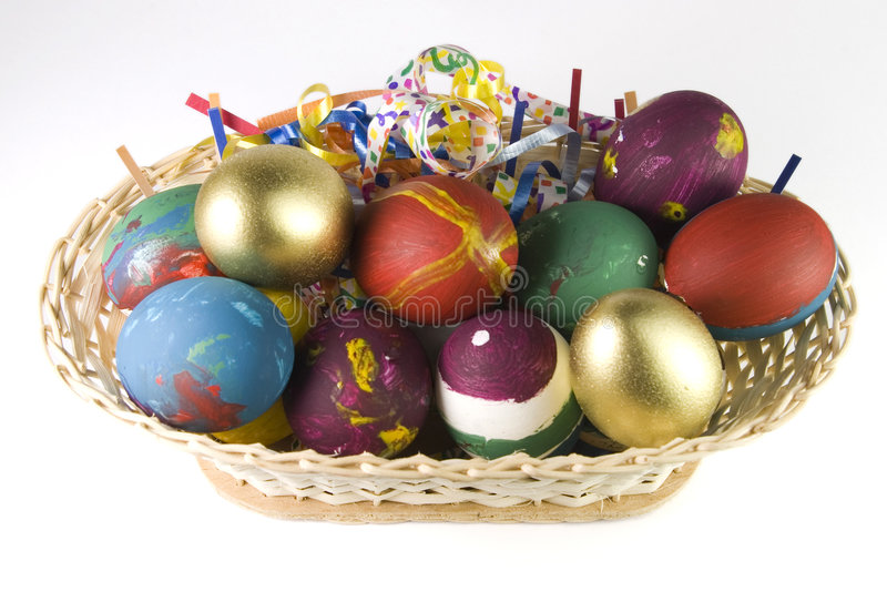 Easter eggs basket stock image