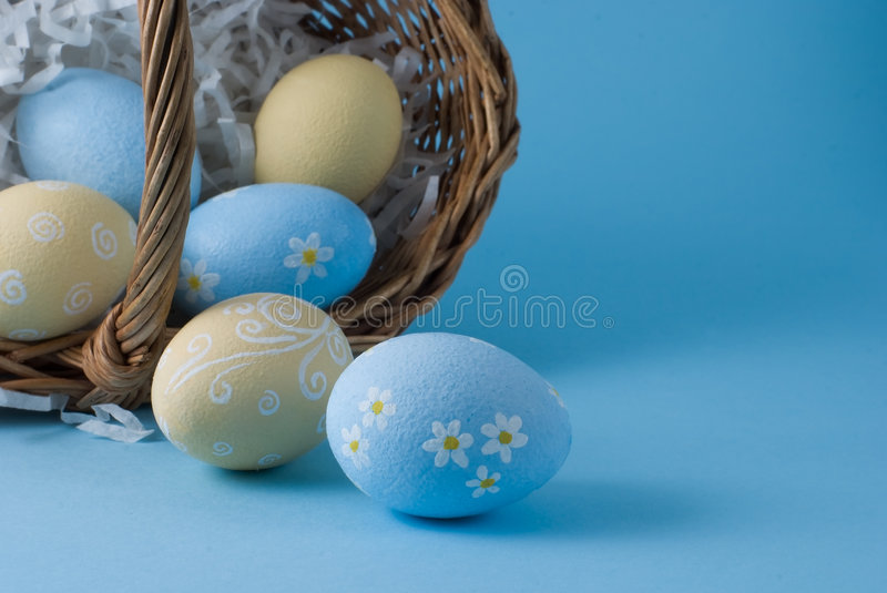 Easter eggs with basket royalty free stock images