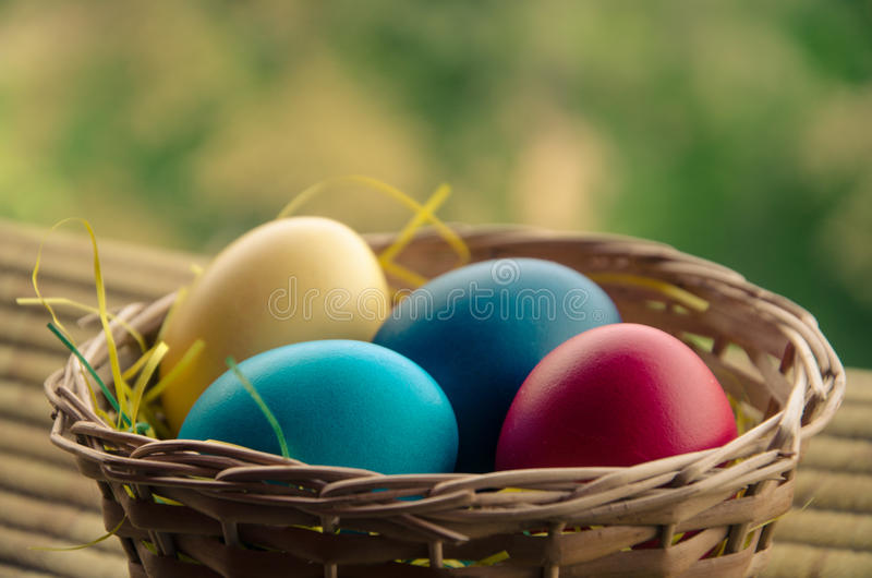 Easter eggs in the basket royalty free stock image