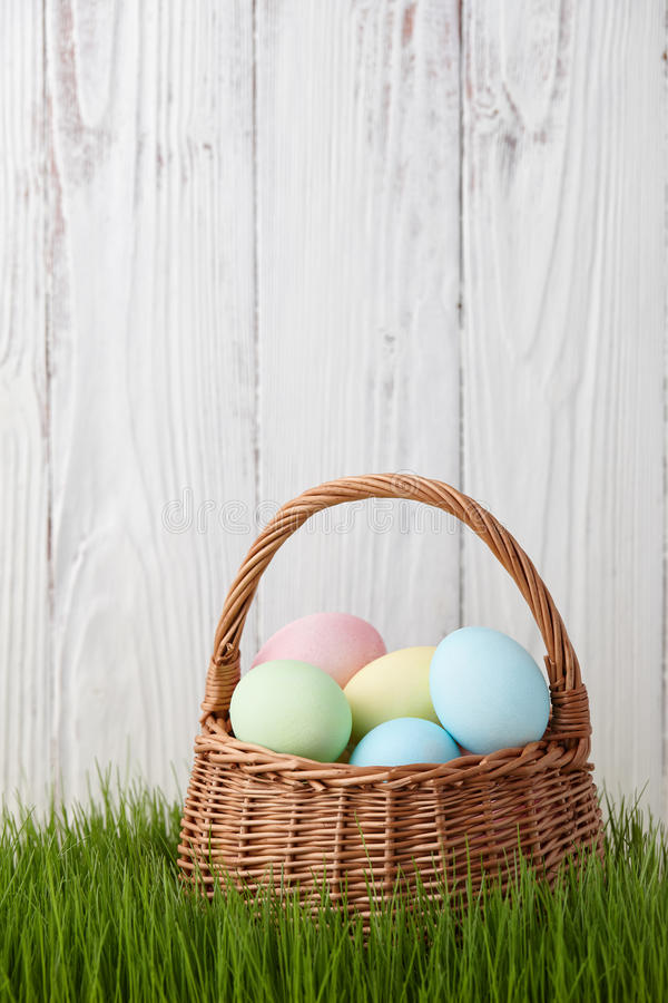 Easter eggs basket in grass meadow. Colorful easter eggs basket in a grass meadow on white fence background stock photography
