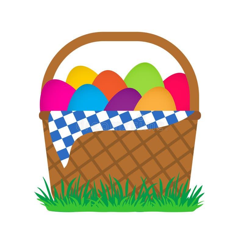 Easter eggs in basket on green grass. Vector illustration royalty free illustration