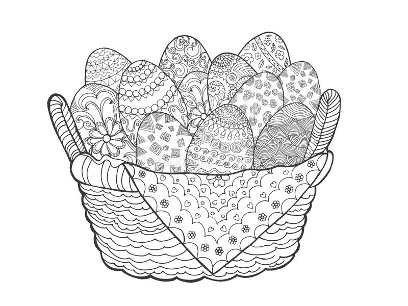 Easter eggs in basket stock illustration