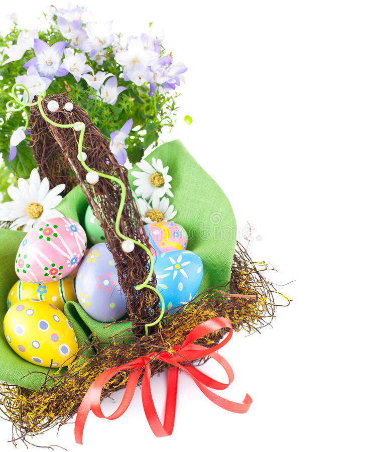 Download Easter Eggs In Basket With Spring Flowers Stock Photo - Image: 23654156