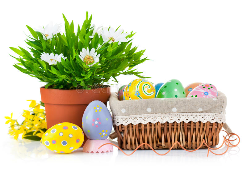 Download Easter Eggs In Basket With Spring Flowers Stock Photo - Image of celebrate, camomile: 23708120