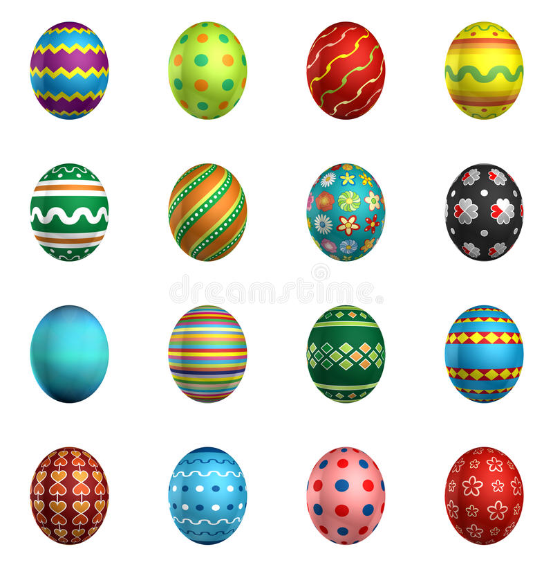 Easter eggs, big pack collection 1. 16 eggs, isolated on white royalty free illustration