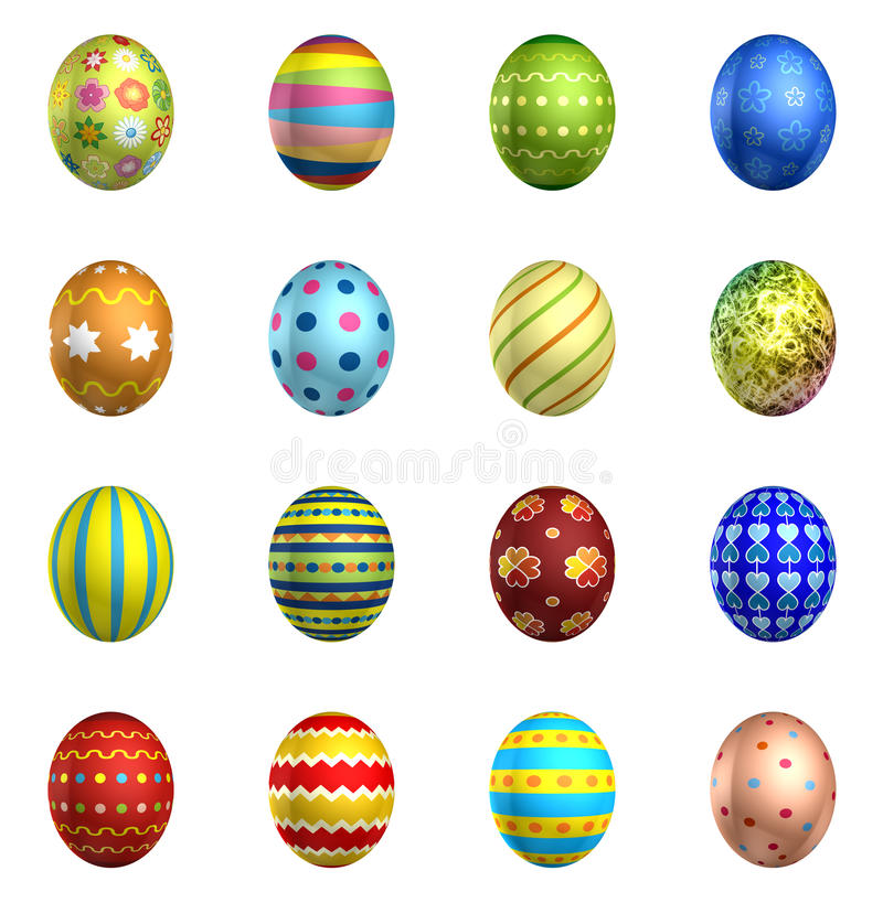 Easter eggs, big pack collection 3. 16 eggs, isolated on white stock illustration
