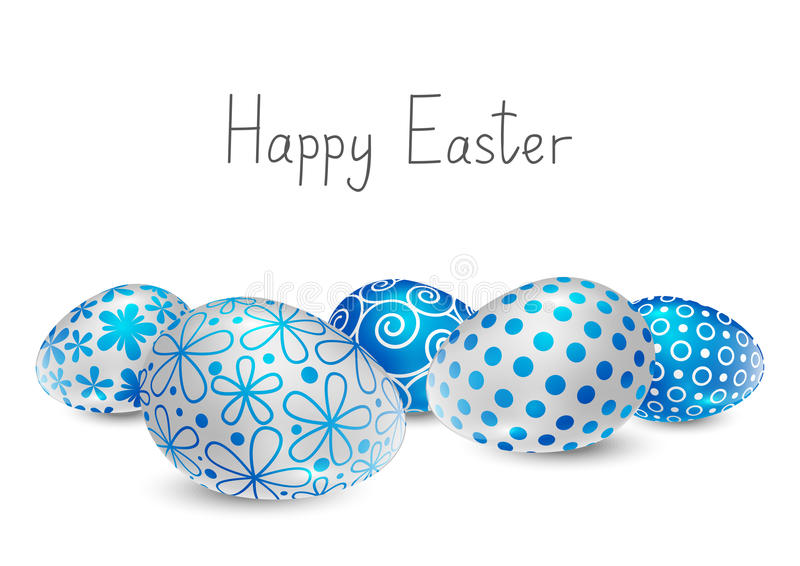 Easter eggs. With blue and white pattern stock illustration
