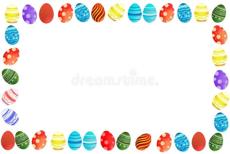 Easter eggs border. Cute colorful easter eggs border / frame white background stock illustration