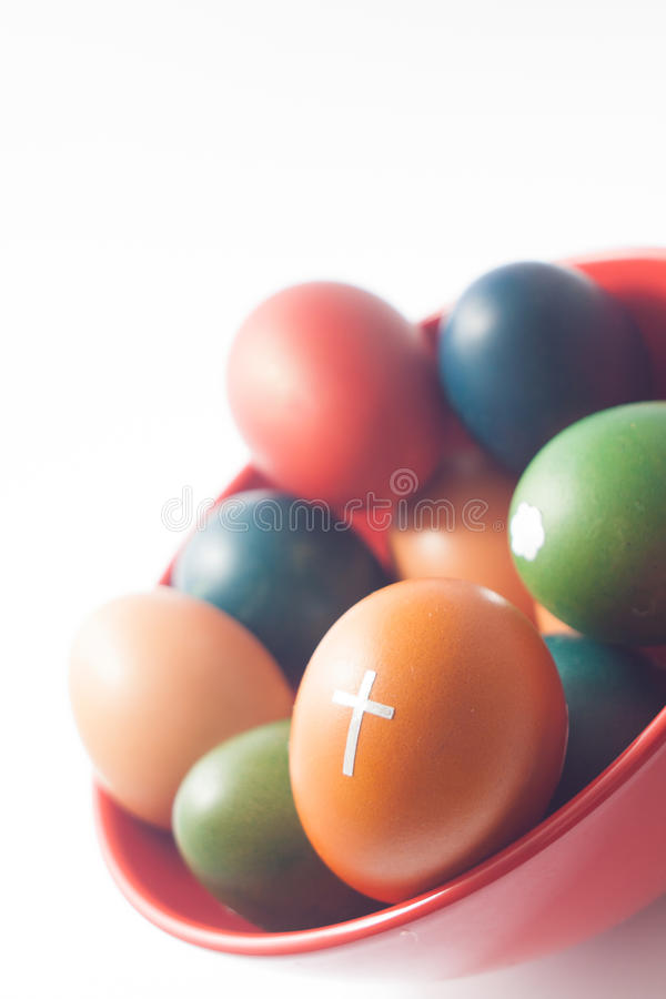Easter eggs in a bowl stock photo