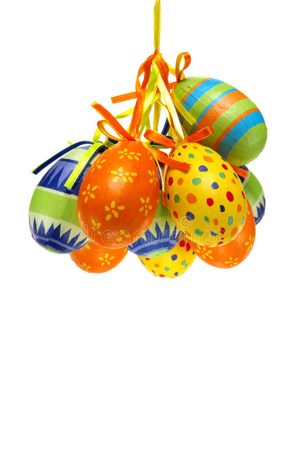 Easter Eggs with Bright Colors Painted Paper stock photos
