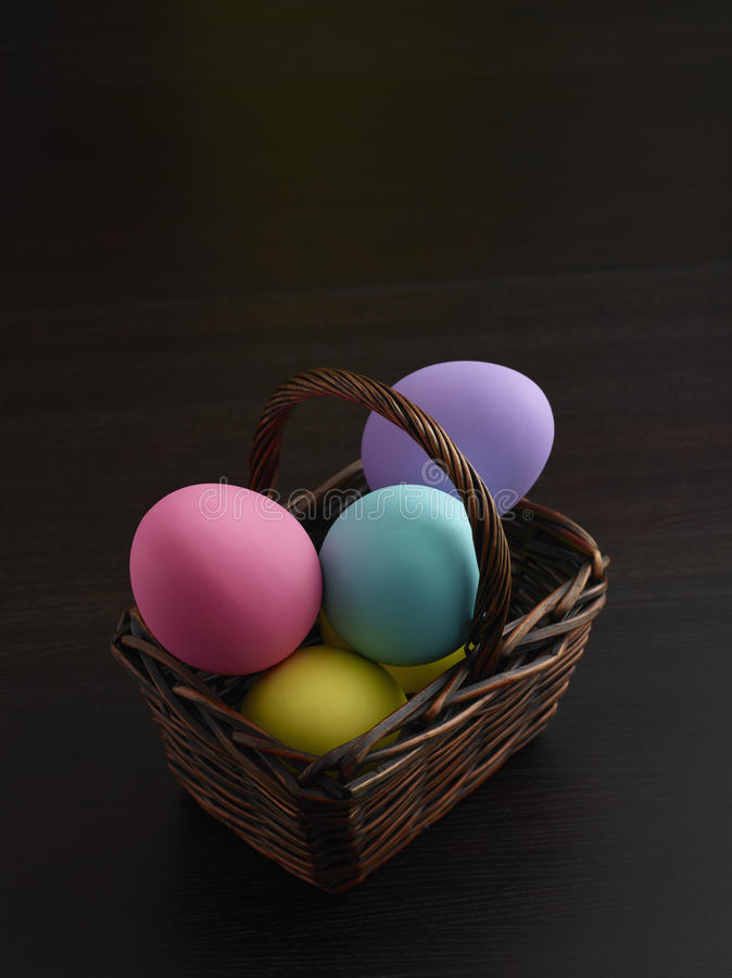 Download Easter Eggs In Brown Basket Stock Photo - Image: 18914532