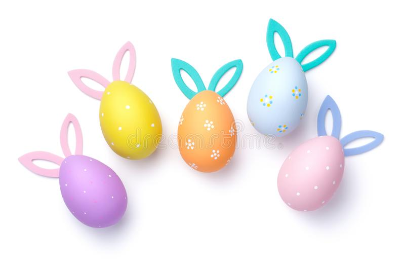 Easter Eggs with Bunny Ears Isolated on White Background stock images