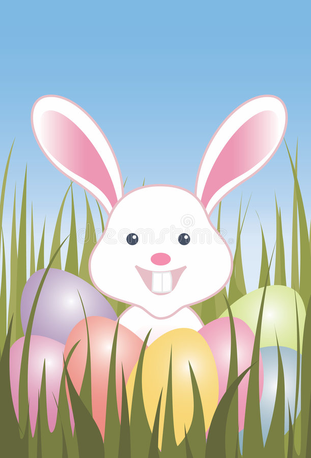Download Easter Eggs And Bunny In Grass Stock Illustration - Image: 4029517