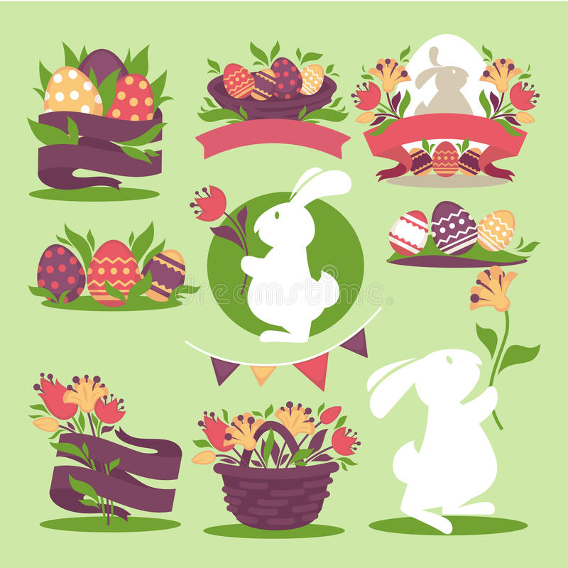 Easter eggs and bunny rabbit holding spring flowers in wicker basket and ribbons. vector illustration