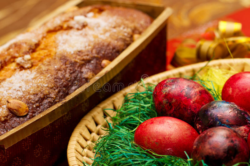 Easter eggs with cake royalty free stock photos
