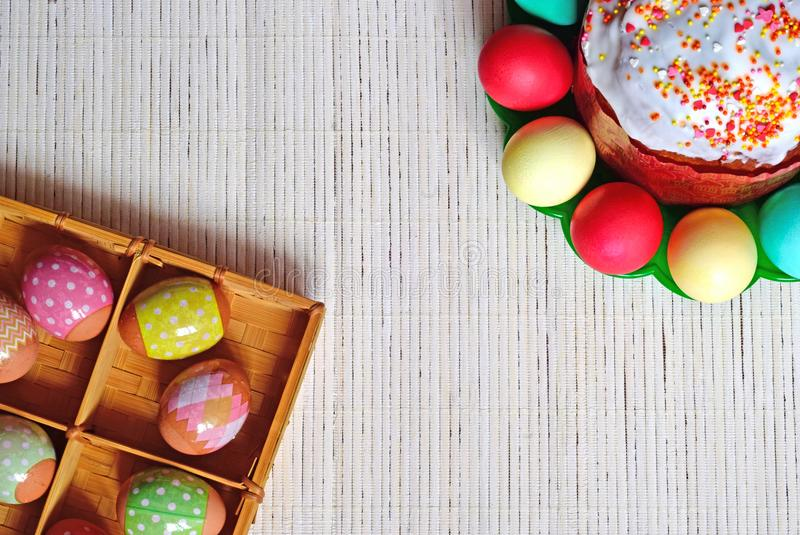 Easter eggs and cake. Eggs in a basket and on a plate. stock image