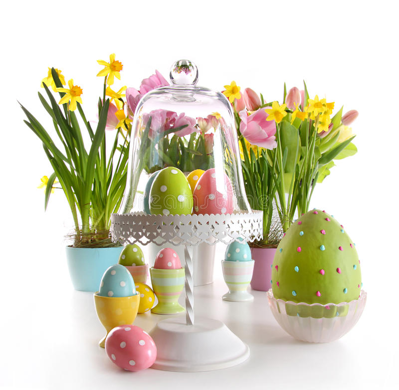 Download Easter Eggs On Cake Stand With Spring Flowers Royalty Free Stock Photos - Image: 13229998